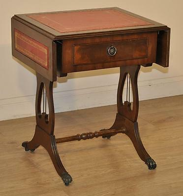 Attractive Vintage Mahogany Drop Flap Lyre End Small Table with Drawer