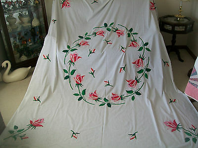 "Vintage Hand Appliqued Quilt Top - Progress Garland of Roses -  Approx. 81"" x 99"