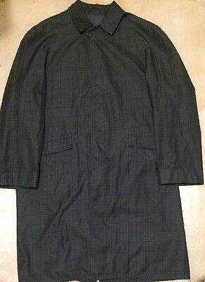 Vintage 1950's Coat Shadow Plaid Size L Jacket Water Repellent Olive Green 50s