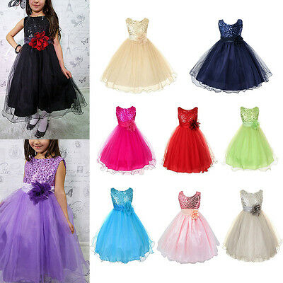 Flower Girls Kids Sleeveless Wedding Formal Bridesmaid Party Princess Dress UK