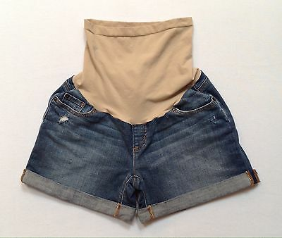 Sz Medium A Pea In A Pod Maternity Secret Fit Belly Distressed Denim Shorts