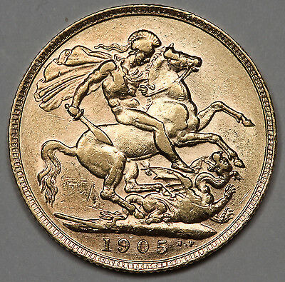 1905 P Australia 1 Full Sovereign Sov Gold Coin Choice AU Perth Mint Edwardvs