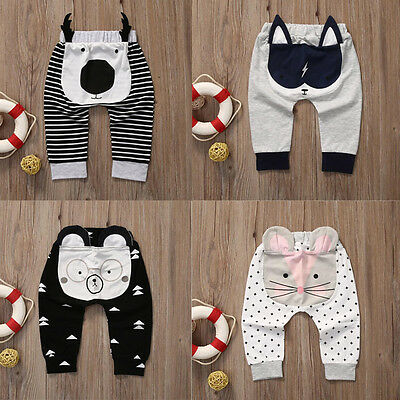 Toddler Baby Harem Pants Boys Girls Cartoon Bottoms Pants Leggings Trousers 0-2T