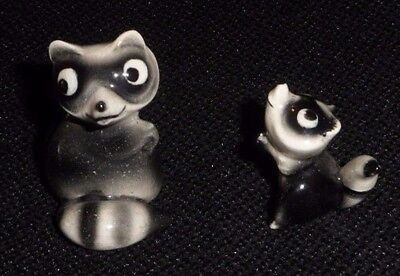 Vintage Early Hagen Renaker Mama and Baby Raccoon Figurine 1950s First Version