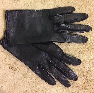 EUC Girls Black Genuine Leather Gloves Size 6-7 Years Very Soft