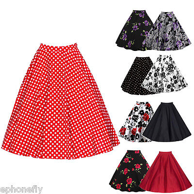 Vintage Retro 40's 50's Floral Rockabilly Jive Swing Skirt Party Mini Dresses