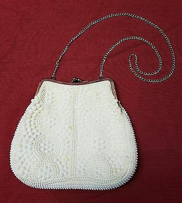 Vintage Style Goldco White Beaded Kisslock Clam Shell Evening Bag Purse