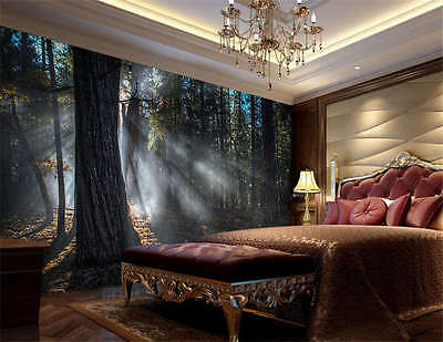 Dark Forest Trunk Tree Full Wall Mural Photo Wallpaper Print Kids Home 3D Decal