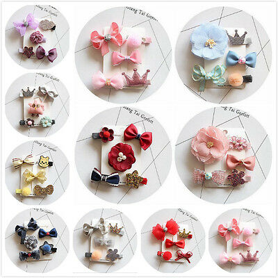 5Pcs/set New Kids Baby Girls Angel Flower Bows Handmade Hair Clip Hairpin Set