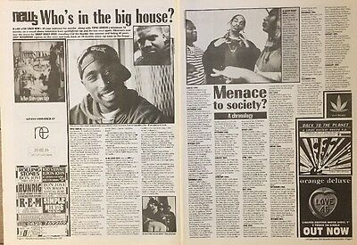 """Tupac Shakur On 2 Pages Pictures Articles 16 X 12"""" Poster Size 18 Feb 1995"""