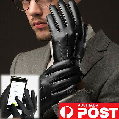 Mens Warm Driving Smartphone Touch Screen Gloves Full Finger PU Leather Winter