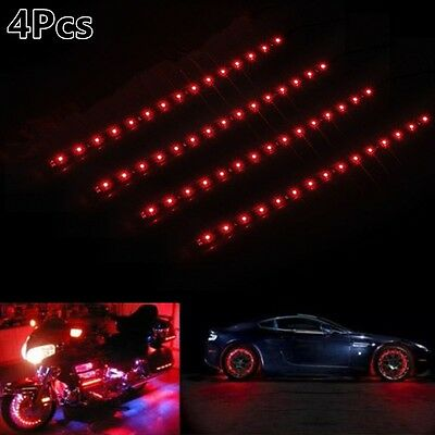 Wireless Remote Control Motorcycle Red LED Light Strip Kit For Car Motorcycle