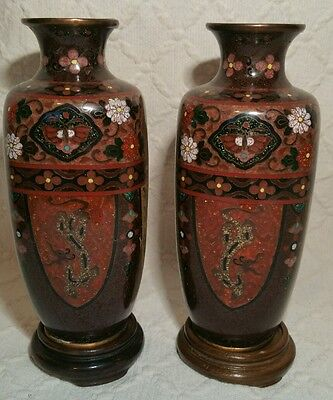 Antique Pair of Japanese Cloisonne Square Vases With Phoenix & Dragons Decor