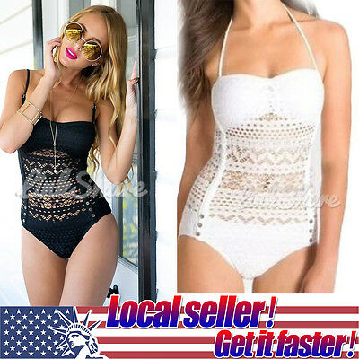 2017 Women's One-Piece Monokini Bandage Bikini Beach Wear Set Crochet Plus Size