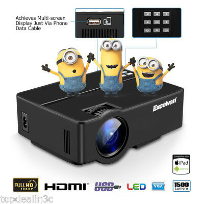 LED Proyector 3000 Lúmenes 1080P Cinema Video Audio Projector HDMI USB VGA AV PC