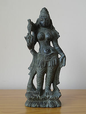 c.19th - Antique Indian Hindu Stone Hand Carved Goddess Parvati Figure Statue