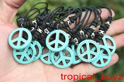 10 Handmade Artificial Stone BLUE PEACE with Bone Beads Necklaces Wholesale