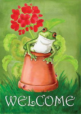 New Large 28 X40 Toland Welcome Flag Potted Frog Cute & Colorful