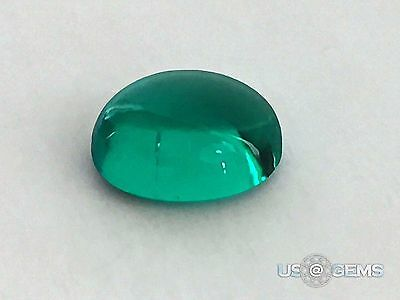 Hydrothermal Columbian Emerald. Oval Cabochon 10x8 mm. 2,6 ct. US@GEMS