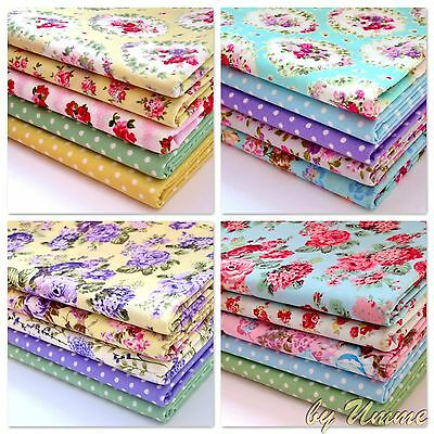 5 Fat Quarters Bundle - 100% Cotton Fabric Spring Florals Sewing Craft Patchwork