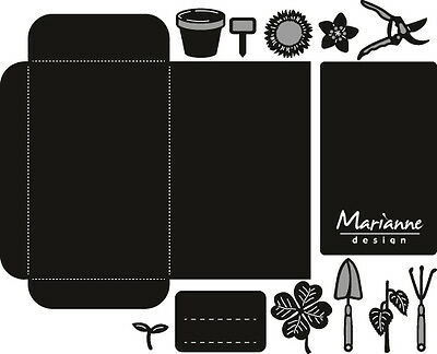 Marianne Craftables Cut Emboss Seed Packet And Garden Tools Die Set Cr1395