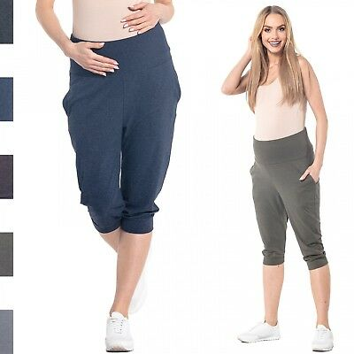 Happy Mama. Women's Maternity Crop Trousers Elastic Belly Band Pants. 699p
