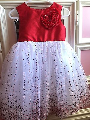 2T Girl Toddler Dress Red And White, Flower Detail