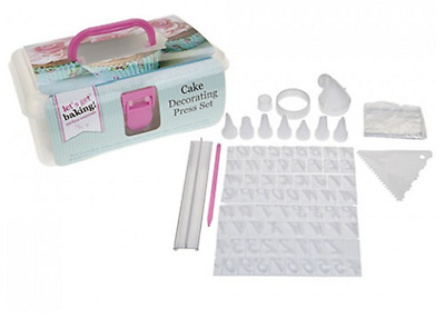 Lets Get Baking 96 Piece Cake Decorating Set Cutters Stamps Scrappers Icing Bag