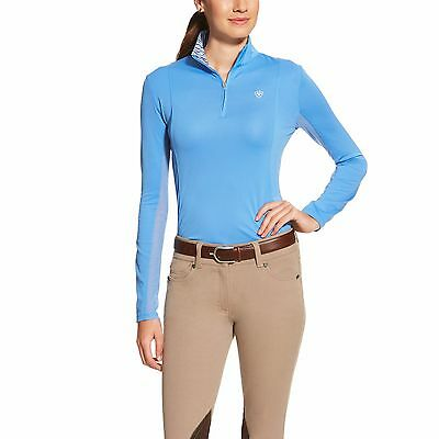 New! Ariat Ladies Sunstopper Lightweight Long Sleeve Riding Top Blue XS - L