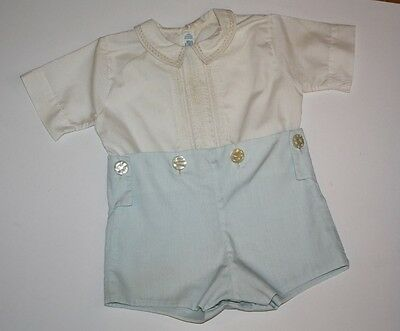 Vintage 1978 Feltman Bros Boy Blue/White Romper ~ Pleated Front ~ 9 Mo.?