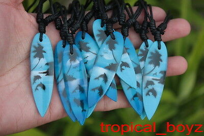 10 Blue Airbrushed Surfboard Dolphin Hawaii Wood Cotton Necklaces Wholesale