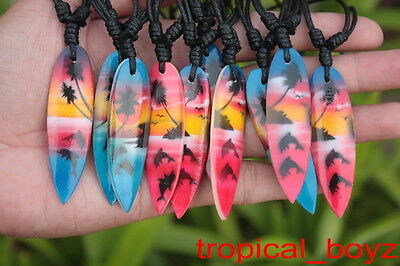 10 Red & Blue Airbrushed Surfboard Dolphin Wood Cotton Necklaces Wholesale
