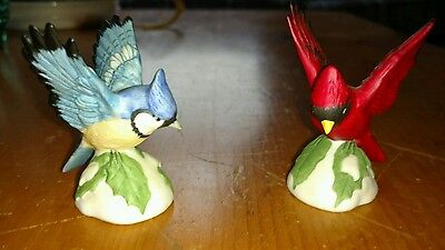 Homeco Bird Figurines - Pair - Cardinal and Blue Jay