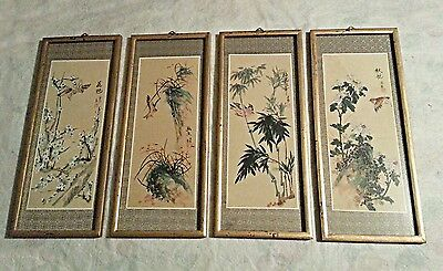 (4) Signed/stamped Vintage Chinese Watercolor Paintings On Silk  Birds & Flowers