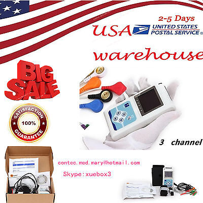 USA Stock,24 hours 3 Channel ECG ECG/EKG Holter Monitor System TLC9803,CONTEC