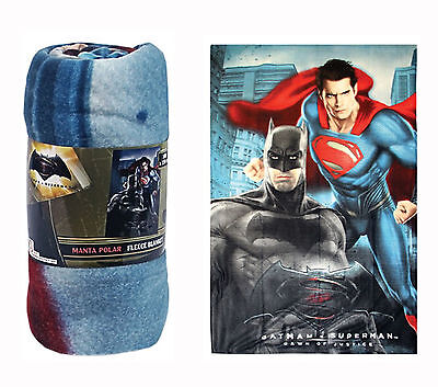 Batman v Superman Kids Boys Fleece Blanket Throw Rotary Superhero Design 100x150