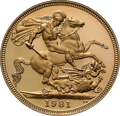 1981 Proof Great Britain Gold Sovereign - Original Box & COA - 0.257 ozt.