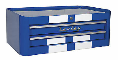 AP28102BWS Sealey Mid-Box 2 Drawer Retro Style - Blue with White Stripes