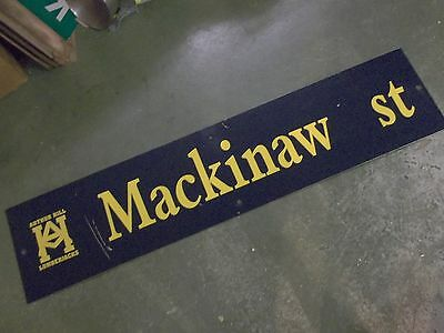 "Vintage MACKINAW st ARTHUR HILL LUMBERJACKS Sign 54"" X 12"" -GOLD on NAVY Ground"