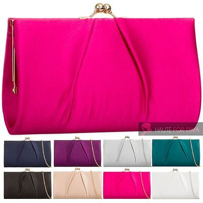 New Womens Pleated Satin Purse Kiss Lock Chain Prom Bridal Clutch Handbag