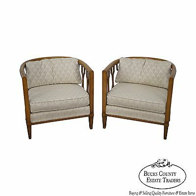 Mid Century Pair of Hollywood Regency Barrel Back Club Chairs