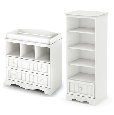 Nursery Furniture Sets 2 Piece Dresser Shelving Unit Baby Changing Table White