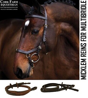 Horseware Rambo MICKLEM MultiBridle REINS Rubber Black/Brown BRASS Pony/Horse