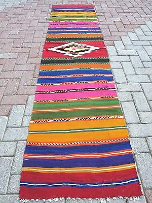 "Vintage Turkish Kilim Runner Rugs,Carpet Runner 24,8""x107"" Hallway Rug,Corridor"