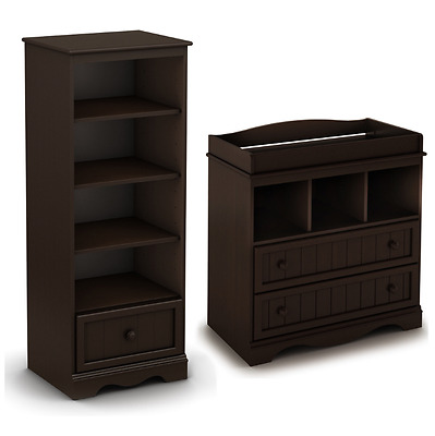 Nursery Furniture Sets 2 Piece Dresser Shelving Unit Baby Changing Table Brown