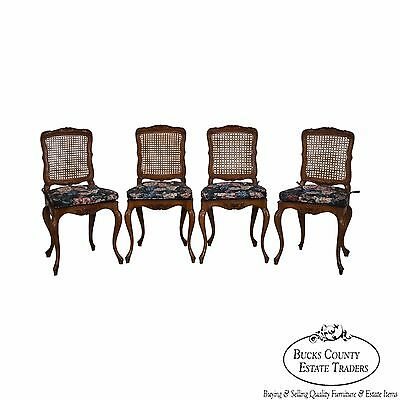 Vintage Set of 4 Carved Walnut Italian Country French Cane Back Dining Chairs