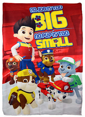 Paw Patrol Boys Fleece Blanket Kids Character Soft Throw Chase Marshall Rubble