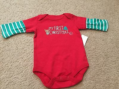 "New Baby Boy's Newborn 0-3 Months ""My First Christmas"" Long-Sleeve One-Piece Red"