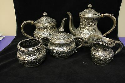 Frank W. Smith Sterling Silver Repousse-Style Five Piece Coffee Set