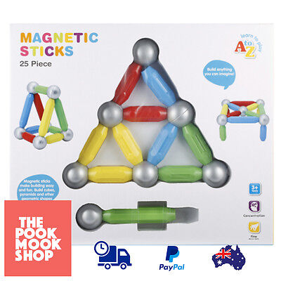 25-Piece Magnetic Sticks Set Stack Building 3D Toy Kids Playset Toys Build Skill